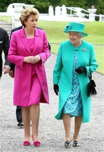 Royal visit to Ireland Day 1...Britain's Queen Elizabeth II with Irish President Mary McAleese after arriving at Aras an Uachtarain (The Irish President's official residence) in Phoenix Park, Dublin, Ireland. PRESS ASSOCIATION Photo. Picture date: Tuesday May 17, 2011. The Queen set foot on Irish soil today for the start of a historic state visit which will herald a new era in relations between Britain and the Republic. Politicians on both side of the Irish Sea have described the four-day event as momentous. See PA story IRISH Queen. Photo credit should read: Paul Faith/PA Wire
